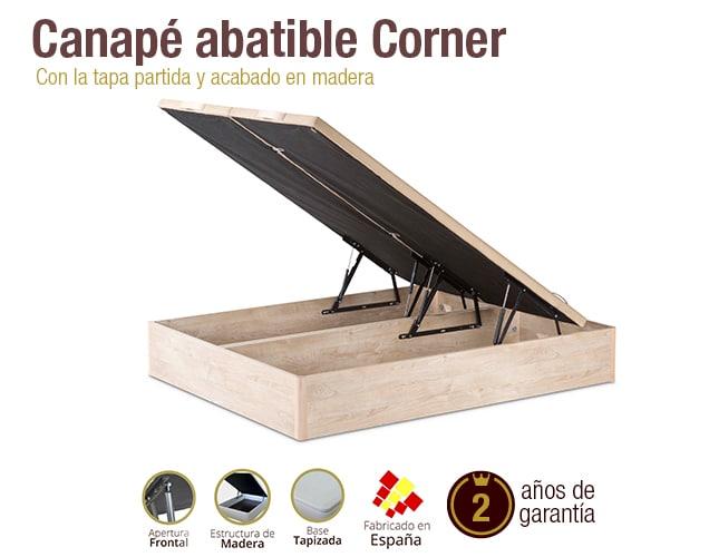 Canape abatible madera corner tapapartida abierto for Canape abatible madera