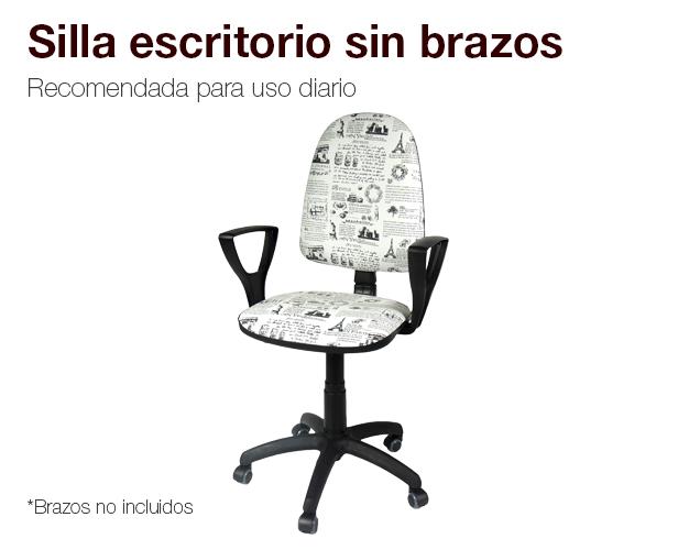 Silla escritorio sin brazos paris colchones naturconfort for Silla escritorio con brazos